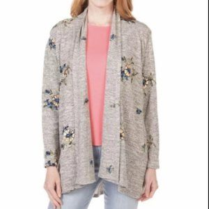 Anthropologie Fig and Flower Floral Cardigan